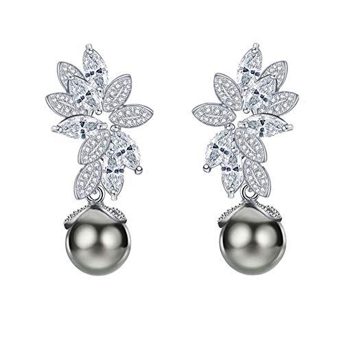 ada Gray Black Pearl Earrings Sterling Silver Dangle Drop Earrings Cultured Pearl & Cubic Zirconia Rhinestone Fine Jewelry for Women Girls