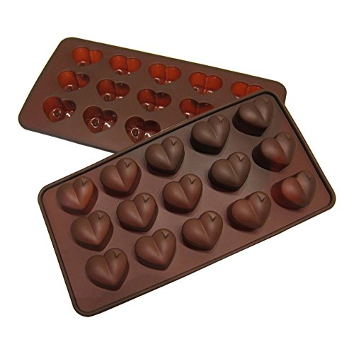 (Silicone Heart Mold Shaped BY Craviy, -Set of 2- Silicone Chocolate Molds, Candy, Jelly, Heart Shaped Ice Cube, Soap,)