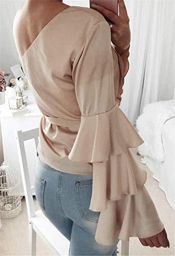 Longues Rose Evass Manches T Fluide Sexy Unie Tops Couleur Tunique Blouse Casual Nue YOGLY Shirt Epaule Femme Bandege Chic UxfgqXXB