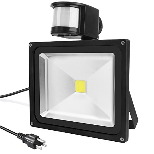 Warmoon LED Motion Sensor Flood Light 20W Outdoor IP65 Waterproof 6500K Daylight White Security Wall lighting With...