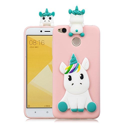 Xiaomi Redmi 4X Case, Xiaomi Redmi 4X Cute Cartoon Case, DAMONDY 3D Cute Unicorn Cartoon Soft Gel Silicone Design Rubber Skin Thin Protective Cover Phone Case for Xiaomi Redmi 4X-Pink