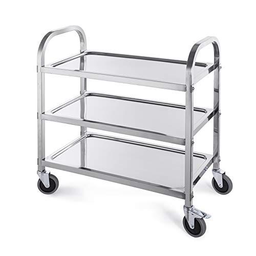 Rolling Service Storage Trolley, Stainless Steel Kitchen Scroll Storage Rack, 3-Tier Multi-Purpose Utility Restaurant Storage Cart, 3 Sizes