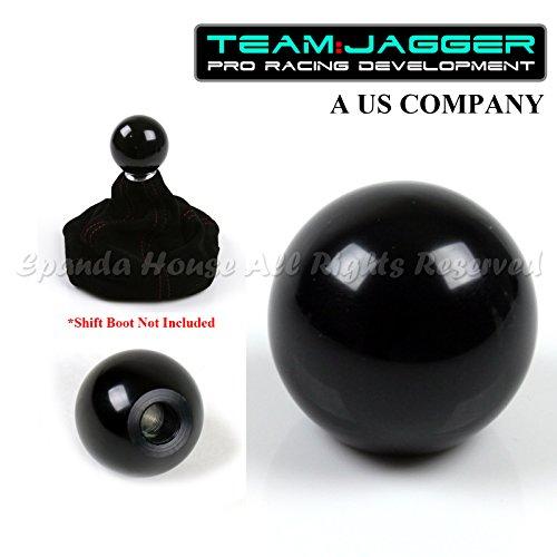 Team Jagger USA Round Black Billet Aluminum Manual Gear Stick Shift Knob M16x1.5 Threaded