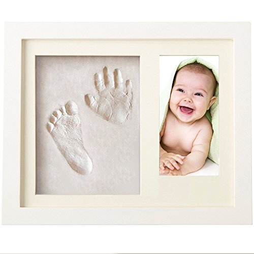 Baby Hand Print Frame - Shower Gift Set - Wall Keepsake - Non Toxic and Safe Clay + 100% Wooden White Album - First Newborn Girl Boy Registry Personalised Presents - Pregnant Mother Special Gift