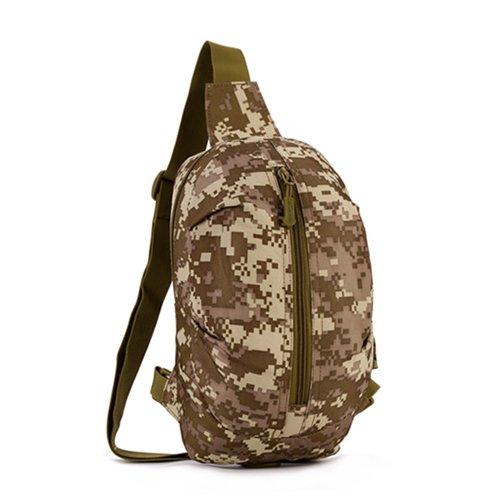 JWBB Camouflage Beutel, männlich Outdoor reisen, cross Bag single Schultertasche, weibliche große Kapazität doppelten Zweck Bergsteigen radfahren Rucksack Wüste digital