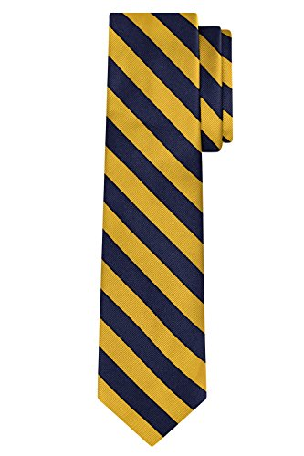 (Jacob Alexander Stripe Woven Men's Reg College Bar Stripe Tie - Gold Navy)