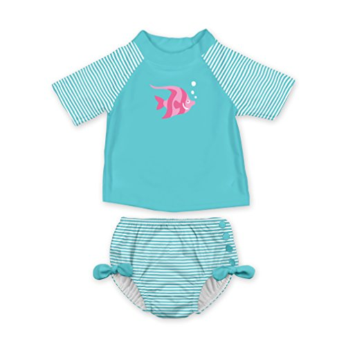 i play. Baby Girls 2pc Rashguard Swimsuit Set with Snap Reusable Swim Diaper, Aqua Angelfish, 18 Months