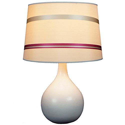 Ava Beige Table Lamp by Laura Ashley Beige Finish with 14 inch juliette striped drum shade - Includes base, shade, harp and finial - (Ava Table Lamp)