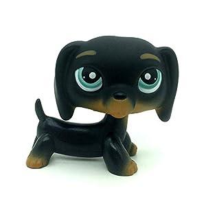jjlin Rare Mini Pet Shop Black Dachshund Dog Chien Teckel Puppy Blue Eyes #325 19
