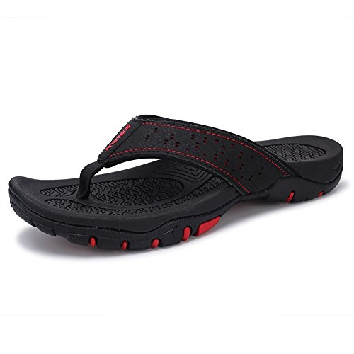 GEKADONG Comfortable Flip Flop Slippers for Men Casual Sandals Beach Outdoor Shoes(44,Black) ()