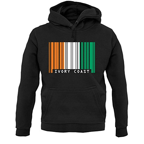 - Ivory Coast Barcode Style Flag - Unisex Hoodie/Hooded Top - Black - Large