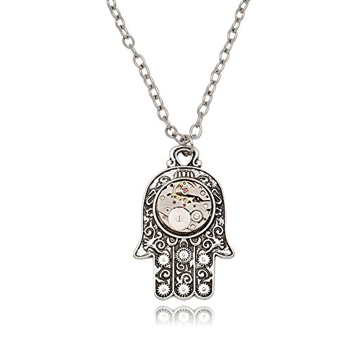 LuReen Steampunk Watch Gear Hand Pendant Necklace Vintage Antique Silver Curb Chain Statement Necklace from LuReen