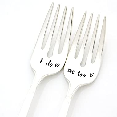 Wedding Forks. I Do, Me Too forks in script lettering. Hand Stamped Vintage Silverware by Milk & Honey. Part of the Martha Stewart American Made Market.