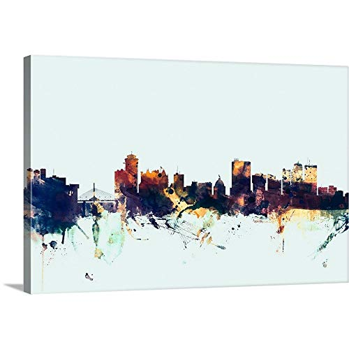 GREATBIGCANVAS Gallery-Wrapped Canvas Entitled Winnipeg Canada Skyline on Light Blue by Michael Tompsett 18