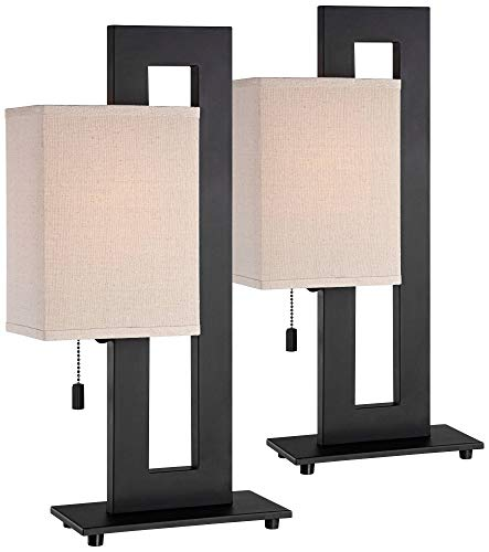 Match Bronze Table Lamp - Modern Accent Table Lamps Set of 2 Espresso Bronze Metal Open Rectangular Oatmeal Box Shade for Living Room Family - 360 Lighting