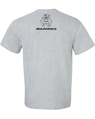 All Things Apparel Marine Corps Bull Dog Front And Back Ment T Shirt   2Xl Sport Grey  Ata842