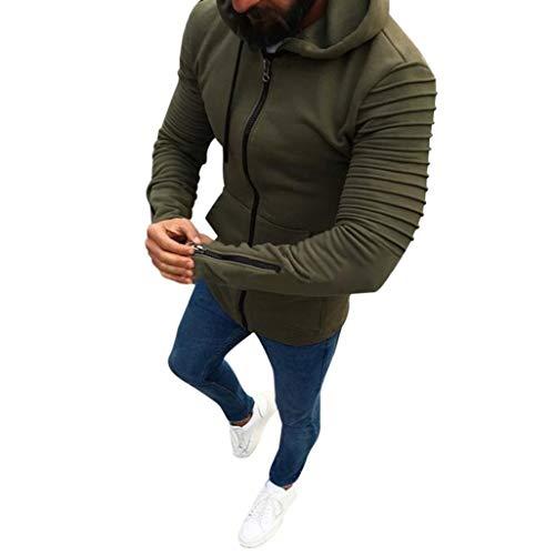 Zainafacai Slim Jacket-Men's Pullover Hooed Fleece Hoodies Sweatshirt Wool Warm Coats (Army Green, M) ()