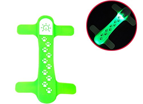 TDL - BRAND Quick Connect LED Pet Collar - Silicone - Snaps Onto existing collar by (Green)