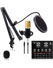 pombconw BM-800 Condenser Microphone Bundle, Streaming Microphone Set, Professional V8 Live Sound Card, Adjustable Mic Suspension Scissor Arm for Studio Recording & Broadcasting