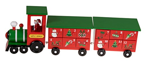 (Clever Creations Christmas Train 24 Day Wooden Advent Calendar | Santa's Express Choo Choo Steam Engine Christmas Decor Theme | Red and Green Painted Wood | Measures 17.25