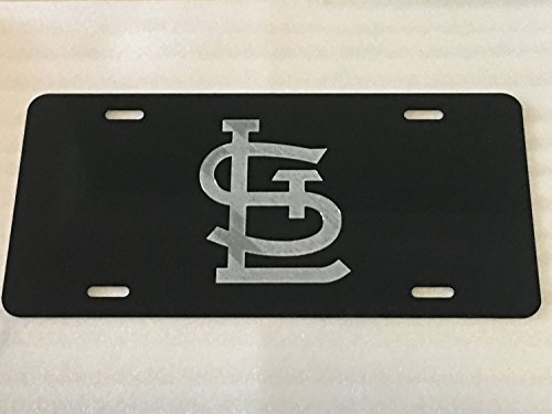 Diamond Etched St. Louis Cardinals STL 2 Logo Car Tag on Black Aluminum License Plate - Louis Cardinals Logo Plate