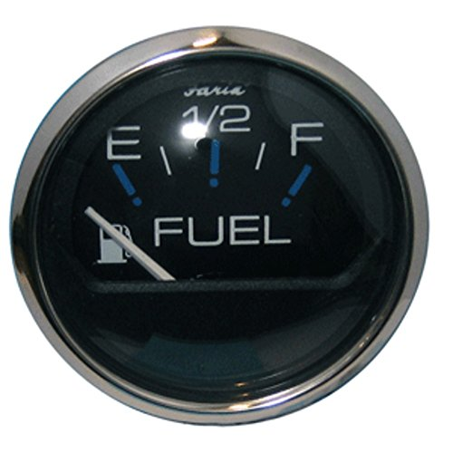 Faria Chesapeake Black Stainless Steel Gauges - SS BLK Fuel Guage - Fuel Level Gauge (E-1/2-F) (13701)