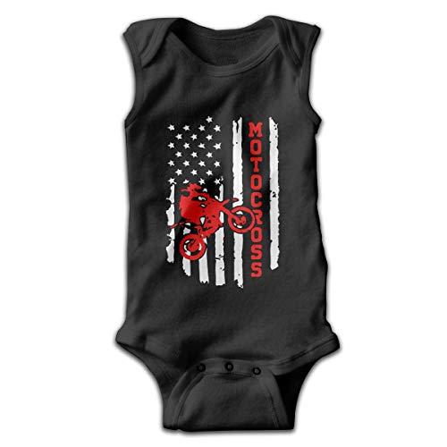 Wave VV Baby Girls American Flag Motocross Dirt Bike Sleeveless Climbing Clothes Creeper Jumpsuits 100% Cotton Black