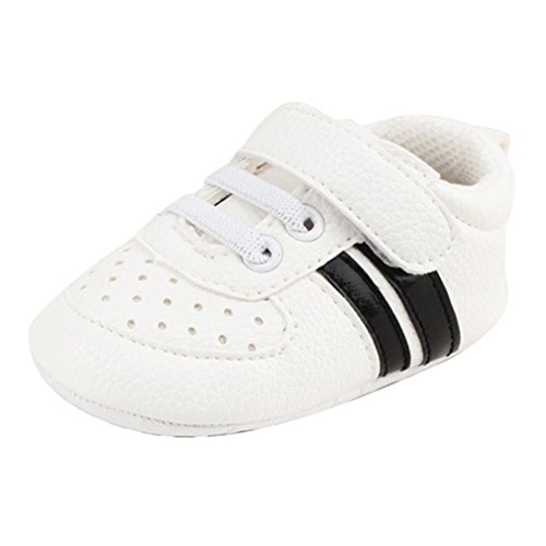 Newborn Baby Boy Shoes Soft Sole Cotton Infant Toddlers First Walkers White And Black 7-12 Months