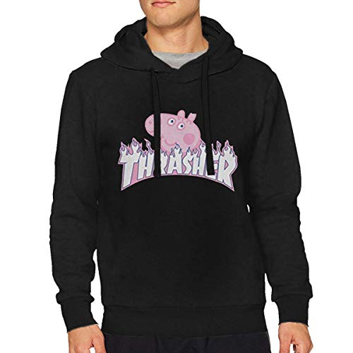 (XuNikoleMorris Thrasher Peppa Pig Man's Sweatshirt M Black)