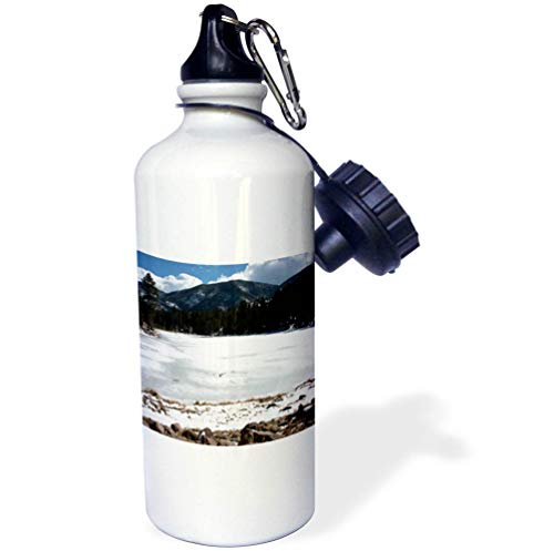 3dRose Jos Fauxtographee- Frozen Lake - The Dixie National Forest with The Water Frozen Over - 21 oz Sports Water Bottle (wb_291346_1) by 3dRose