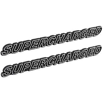 SUPERCHARGED Supercharger Engine Emblems in Chrome & Black Trim ...