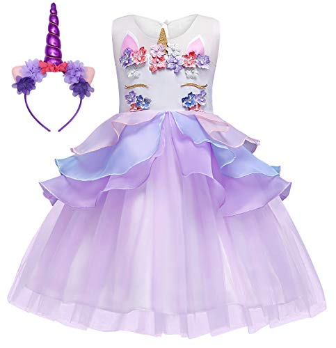 Cotrio Unicorn Dresses for Little Girls Halloween Costume Outfits Clothes Toddler Kids Theme Birthday Party Tulle Tutu Dress Ball Gowns Size 4T (3-4Years, Purple, 110)