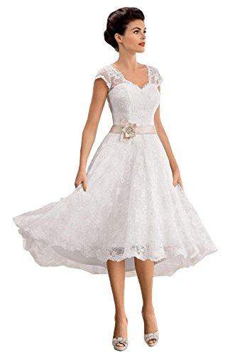 Irenwedding Women's V Neck Capped Applique Lace Beaded Sash Short Beach Wedding Dress Ivory US6