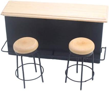 HEALLILY 3 Piezas Mini Bar Contador Conjunto Micro Bar Silla Casa de Muñecas Muebles en Miniatura Diy Casa de Hadas Diseño Ornamento