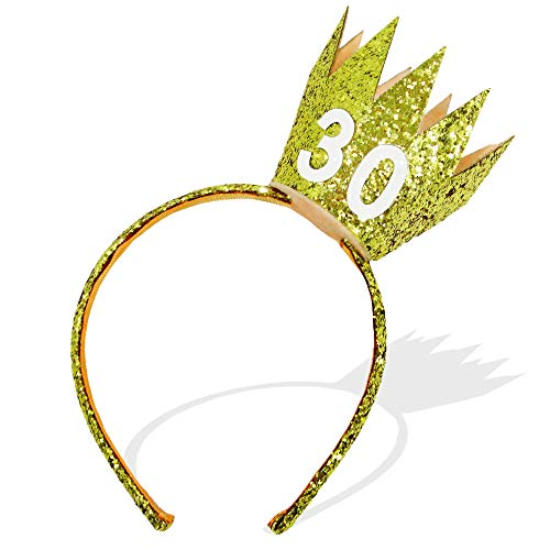 Fun 30th Birthday Sparkly Gold Crown Headband Tiara and Party Hat Alternative Unisex One Size