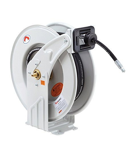 "REELWORKS Grease-Hose-Reel Retractable 1/4"" Inch x 50' Feet ELITE Long Premium Commercial SAE.100R2AT Hose MAX 5800 PSI Spring Driven Steel Construction Heavy Duty Industrial Dual Arm & Pedestal from ReelWorks"