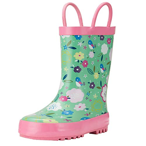 ADAMUMU Girl Rain Boots for Kids with Easy-On Handles, Toddler Childrens Waterproof Rubber Shoes in Floral Patterns, Various Prints and Different Sizes