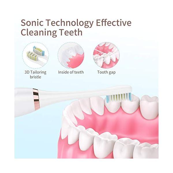 Beautlinks Brosse À Dents Sonique Électrique paquet, Base de inductive de Nettoyage rechargeable, 5 Modes et 2 Têtes de…