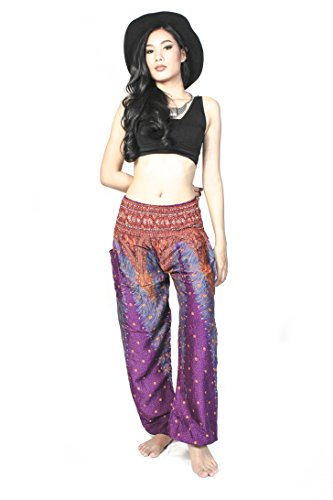 Cotton Rose Harem Pants For Women Peacock Yoga Pants Petite Gypsy Baggy Pants (Plum HPbP)
