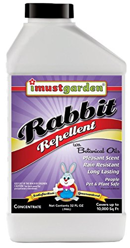 Rabbit Repellent 32oz Concentrate, While harmless to rabbits, I Must Garden Rabbit Repellent will keep rabbits away from flowers, plants, trees and more:
