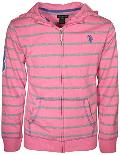 - U.S. Polo Assn. Girl's French Terry Zip-Up Hoodie Sweatshirt, Pink, Size 5/6'