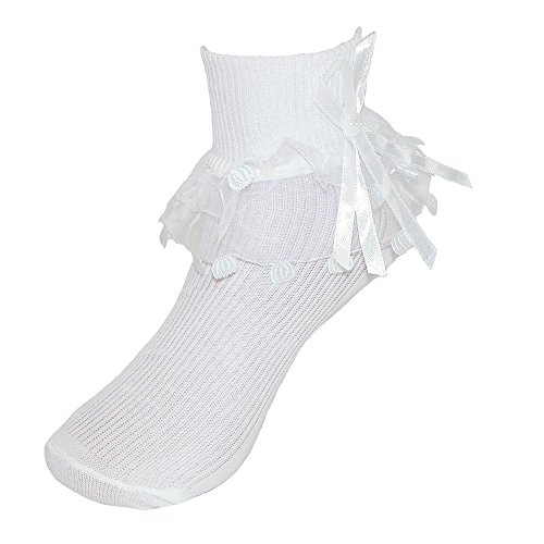 CTM Girls' Ruffle Trim Lace Anklet Socks (3 Pair Pack), Small, White