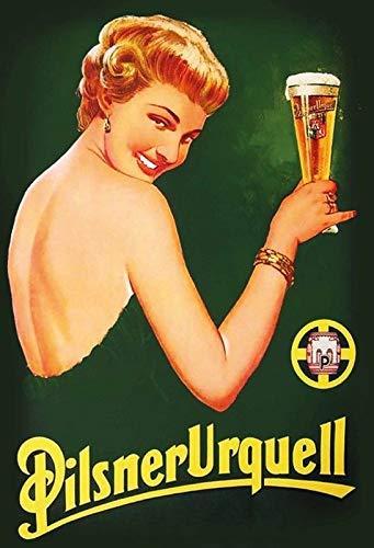 Girl Pilsner - Dozili Pilsner Urquell Lady Vintage Look Custom Metal Signs - Bar Cafe Yard Signs House Signs 12