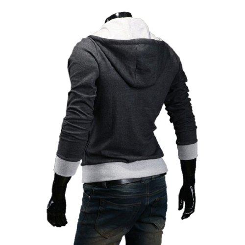 Men's Oblique Zipper Hoodie Cosplay Costume Top Coat Jacket,Dark Grey,XXL
