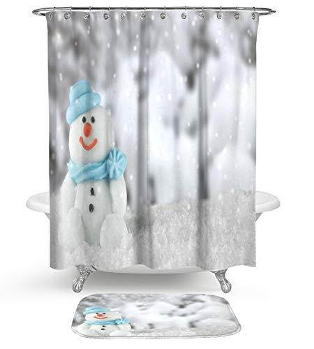 HMWR Christmas Smiling Snowman Shower Curtain Rug Bathroom Set,Winter Frozen World Snowflake Water Resistant Fabric Shower Curtain with Soft Cotton Bath Floor Mat,Set of 2 Machine - Bath Frozen Rug