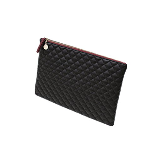 d Color Envelop Clutch Bag Fashionista Quilted Diamond Pattern Leather Purse Tote Shoulder Bag Handbag Pouch Black ()