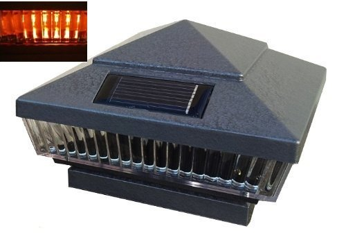 8-Pack Solar Hammered Grey Finish Post Deck Fence Cap Lights for 6'' X 6'' Vinyl/PVC or Wood Posts With Amber LEDs and Vertical-lined Clear Lens