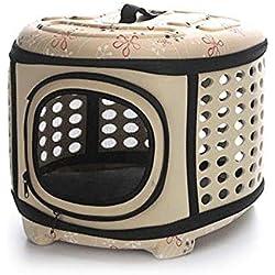 Soft Sided Pet Carrier Foldable EVA Pet Carrier Puppy Dog Cat Outdoor Travel Shoulder Bag for Small Dog Pets Soft Dog Kennel Pet Carrier Bag Pattern 3 L Apricot