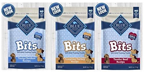 Blue Buffalo Blue Bits Natural Soft Moist Training Treats For Dogs 3 Flavor Variety Bundle: (1) Blue Bits Tender Beef Recipe Treats, (1) Blue Bits Tasty Chicken Recipe Treats, and (1) Blue Bits Tempting Turkey Recipe Treats, 4 Oz. Ea. (3 Bags Total) (Blue Bits Tender Beef Recipe)