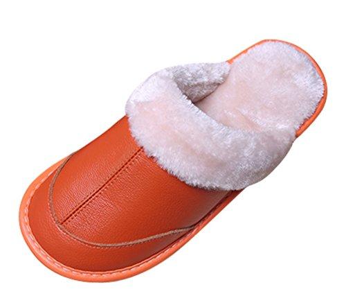 Cattior Womens Foderato In Pelliccia Caldo Accogliente Pantofole In Pelle Pantofole In Pelle Arancione